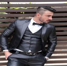 Grey Check Piece Suit Australia - Latest Coat Pant Designs Grey Satin Men Suit Formal Skinny Shiny Wedding Tuxedo Prom Gentle Groom Blazer Tailor 3 Pieces YM
