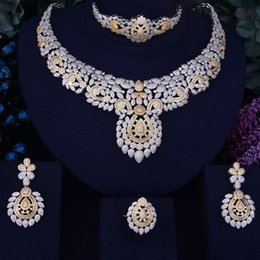 Jade Dresses Australia - GODKI Flower Leaf Luxury Women Nigerian Wedding Naija Bride Cubic Zirconia Necklace Dubai 4PCS Dress Jewelry Set