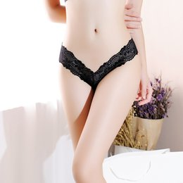 blue rose wholesale NZ - Women Underwear G String sexy Lace Panties thong edge transparent skimpy seamless black Solid low-Rise cotton crotch lingerie