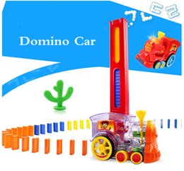 puzzles mathematics NZ - Children's domino car building blocks diy sound and light automatically put on electric DIY toys puzzle building blocks toys