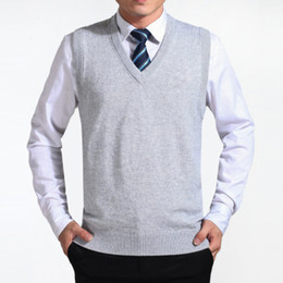 2018 gray New Arrival Solid Color Sweater Vest Men Cashmere Sweaters Wool Pullover Men  V-Neck Sleeveless Jersey