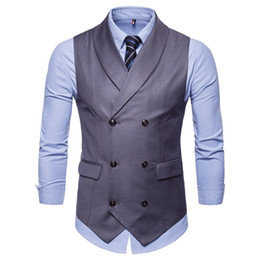 double breasted color coat 2019 - 2019 Customized Spring And Autumn New Gentlemen Pure Color Double-Breasted Man Armor Men British Western Armor Large Siz