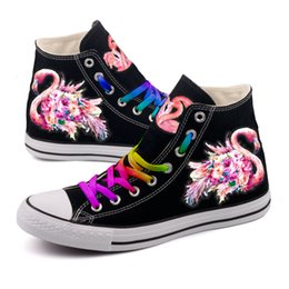 4e95e2338a5 Rainbow Color Lace-up High Top Canvas Shoes Graffiti Red Bird Print Casual  Walking Shoes Men Outdoor Adult Tenis Espadrilles