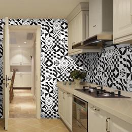 Kitchen Set For Home Australia - 5pcs set 3D Black and White Tiles Floor Wall Sticker Kitchen Bathroom Waist Line Wall Stickers PVC Poster Home Decor Art Mural