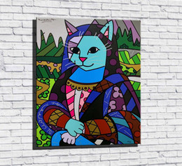 cats oil paintings Australia - MONA CAT,1 Pieces Canvas Prints Wall Art Oil Painting Home Decor (Unframed Framed) 16X20