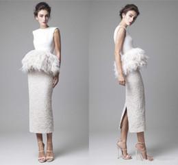 $enCountryForm.capitalKeyWord UK - Krikor Jabotian White Feathers Evening Dresses 2019 Formal Back Split Peplum Fur Pencil Sheath Tea Length Prom Gowns Lace Party Gowns
