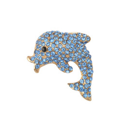 $enCountryForm.capitalKeyWord UK - New Costume Jewelry Blue Rhinestone Dolphine Brooch For Women Female Animal Brooches Fish Broaches broschen Channel Pin Cute