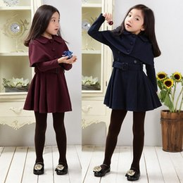 Mantle Clothes Australia - 8 12 Winter Girls Clothes Wool Dresses Autumn Tippet Princess Dress Mantle Two Piece Children Clothing 2-14 Years Kids Clothes J190619