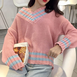 top korean clothing brands 2019 - Korean panelled long sleeve knitted tops Women's Clothing new autumn winter sweet preppy style fashion brand pullov