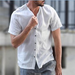 Tees Shirts Australia - Men's summer Blouse Baggy Cotton Linen Solid Short Sleeve Button Retro men tops tees casual shirt camisetas masculina Summer Top