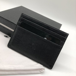Genuine leather men baG online shopping - Luxury business men s credit card holder wallet M B ID fashion bag thin pocket wallet M T card slot dust bag high grade packaging box