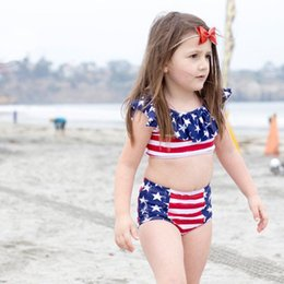 $enCountryForm.capitalKeyWord NZ - Girls Swimwear 2019 Summer Swimsuit Independence Day Children's Set Europe and America Split Swimsuit V074