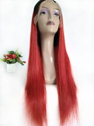 Braided Colored Hair Australia - 150% Density Peruvian Straight Human Hair Lace Front Wigs Colored 1B Red Long Braided Wig Cheap Red Ombre Full Lace Wig For Black Women