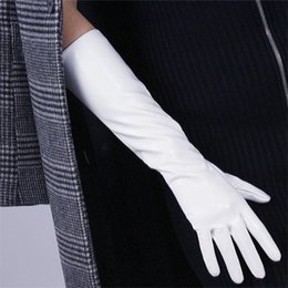 genuine leather white gloves 2019 - Patent Leather Gloves Female White Red Brown Synthetic Leather Woman Gloves 40cm Long Cosplay Imitation Genuine P34 disc