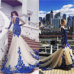 Ivory Lace Prom Dresses NZ - Sexy Sheer Mermaid Ivory Prom Dresses With Royal Blue Lace Appliqued 2019 Sheer Long Sleeve Jewel Neck Elegant Arabic Women Evening Wear