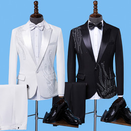 Fly Suits Australia - New Fashion Men Suits Black Embroidery Blazers Slim Fit Red White black Suits Wedding Business Male Tuxedos Single Buttons Suit Y190420