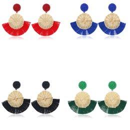 Green Plastic Straws Australia - Tassel earrings straw woven woven earrings simple European and American style temperament tide earrings ear jewelry