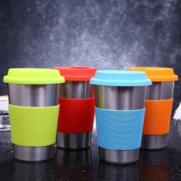 Mug foods online shopping - 5 Colors ml Stainless Steel Cup Single layer Beer Cups Coffee Mug With Food Grade Silicone Lids Without Straw Kids Cup CCA11149