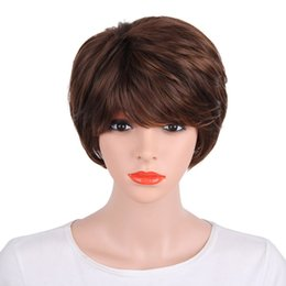 $enCountryForm.capitalKeyWord UK - Factory price 1pc Women Fashion Lady Brown Short Straight Hair 30cm Natural Cosplay Professional Wigs Stand Stocked Feb15