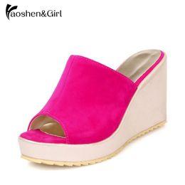 Discount peep toe slipper wedges - Haoshen&Girl Women Wedges Slides Platform Summer Shoes Outside Slippers Leisure Fashion Slides Peep Toe Footwear Size 34