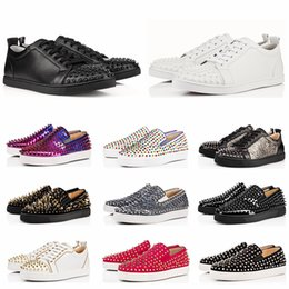 Discount red bottom spike shoes for men - ACE Designer Fashion Luxury Brand Red Bottom Studded Spikes Flats Shoes for Men Women Glitter Party Lovers Genuine Leath