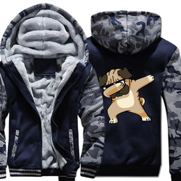 pug sweatshirts Australia - casual wool liner keep warm sweatshirts Novelty Dabbing Pug hooded jackets Men hip-hop sportswear tracksuits 2019 winter hoodies