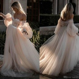 Lavender Blush Wedding Dress Australia - Sexy Blush Pink Off Shoulder Country Wedding Dresses 2019 Lace Applique Sweetheart Long Sleeves Plus Size Bridal Gown Wedding Dress Cheap