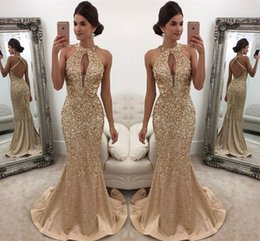 $enCountryForm.capitalKeyWord NZ - Gold Hand Extravagance Drill Evening Dresses Gauze T-shirt Chest Vent Hollow Sexy Halter Fishtail Prom Party Dresses DH14