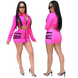 8c605229dece0 Rosy Buckle Two Piece Set Dress Zipper Turn Down Collar Long Sleeve Jacket  Coat Crop Top + Bodycon Mini Skirt Outfits