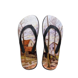 $enCountryForm.capitalKeyWord Australia - Customizable Summer Men Flip Flops Beach Anti-slip Sandals Casual Anti-Slip Shoes Painting Print Alfred Sisley Master Pieces