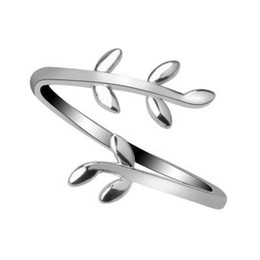 Brass Leaf Charms Australia - Olive Tree Branch Leaves Open Ring for Women Girl Wedding Rings Charms Leaf Rings Adjustable Knuckle Finger Jewelry Xmas Cheap 50PCS