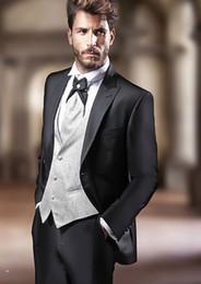 $enCountryForm.capitalKeyWord Australia - New Style Three Piece Black Evening Party Men Suits Peak Lapel Trim Fit Custom Made Wedding Tuxedos (Jacket + Pants + Vest+Tie)W:641
