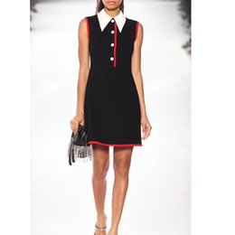 Large Lapel Suits Australia - Summer new small black dress suit lapel sleeveless waist dress Mid waist slim temperament A word skirt large size women's clothing