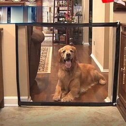 Discount safety gates - Dog Gate The Mesh Magic Pet Gate For Dogs Safe Guard and Install No Nail No Screws Pet Dog Safety Enclosure Fences Drops