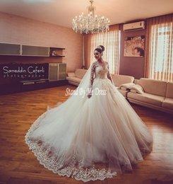 Ball Gown Wedding Dresses Australia - 2019 Luxury New Lace Ball Gown Wedding Dresses Sheer Beads Sequined Long Sleeves Court Train Wedding Dress Bridal Gowns robe de mariée