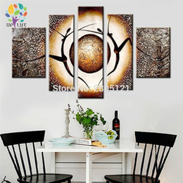 Pictures Oil African Australia - Hand-painted thick Abstract Oil Painting happy african dancer picture 5 pcs gray Abstract figure Canvas art sitting room decor