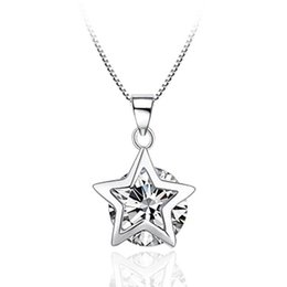 Discount purple zircon necklace - ANENJERY Exquisite Purple White Zircon Pendant Necklace 925 Sterling Silver Star Women Wedding Necklace Jewelry Wholesal