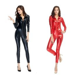 $enCountryForm.capitalKeyWord NZ - Pop 2019 Red Black Red Gothic Punk Sexy Faux Leather Catsuit Costume Front Zip For Man Woman Club Halloween Party Fancy Dress Size M XL