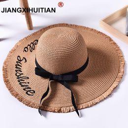 Handmade Weave letter Sun Hats For Women Black Ribbon Lace Up Large Brim Straw  Hat Outdoor Beach Summer Caps Chapeu Feminino C19011401 b12e381365a0
