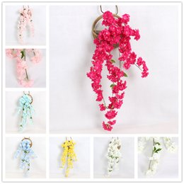 Wedding Bedding Australia - High Imitation Cherry Blossom for Wedding Party Wall Decoration Hangings in Living Room Artificial Flower Vine for Balcony Bed Room