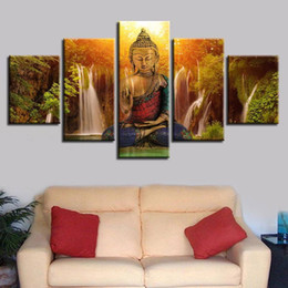 Chinese  Abstract Canvas Art Painting Buddha Waterfall Landscape Module Printed Poster Wall Art Home Decor Living Room Poster No Frame manufacturers