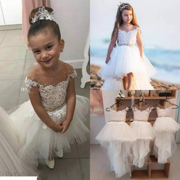 Le ragazze poco costose sveglie più poco costose del fiore si veste per le nozze del Beach Wedding 2019 del vestito di Tulle di applique del collo di Tulle di applique