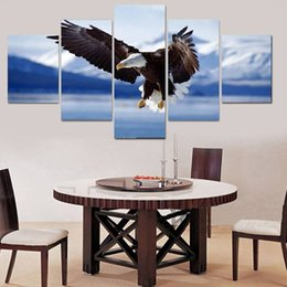 $enCountryForm.capitalKeyWord Australia - .5pcs set Strong Eagle Wall Art Oil Painting On Canvas (No Frame) Animal Flying Paintings Picture Living Room Decor
