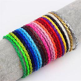 $enCountryForm.capitalKeyWord Australia - 3mm Round Braided Pu Leather Bracelets & Bangles Mens Simple Style Bayonet Buckle Leather Charm Bracelet For Women