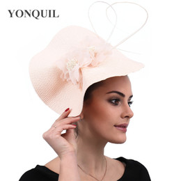 $enCountryForm.capitalKeyWord Australia - New Champagne hair accessories bridal veils hats feather flower church fascinators headbands wedding race event headwear free ship SYF546