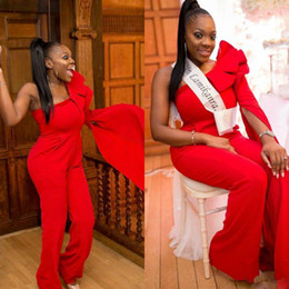 $enCountryForm.capitalKeyWord Australia - African One Shoulder Prom Dresses Tiered Ruffles Long Sleeve Red Jumpsuits Custom Made Formal Party Evening Gowns Cheap
