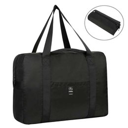 Wholesale Vbiger Black Foldable Travel Bag Lightweight Duffel Tote Bag L Big Capacity Travel Bags Luggage With Luggage Fixing Strap