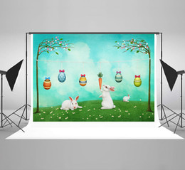 paint muslin backdrop Canada - Kate Happy Easter Backdrops for Photography Nature Rabbit Photo Backdrop Spring Grassland Background for Picture Easter