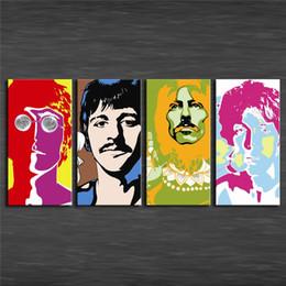 $enCountryForm.capitalKeyWord Australia - The Beatles Animado,4 Pieces Home Decor HD Printed Modern Art Painting on Canvas (Unframed Framed)