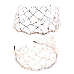 Wedding hair nets online shopping - Bride Headband Rhinestone Crystal Pearl Luxury Women Wedding Headdress Tiara Hoop Net Mesh Bridal Headwear Charms Hair Jewelry A